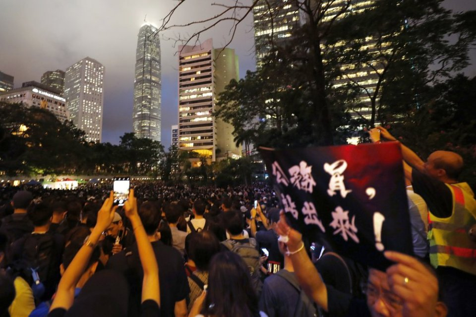 Hong Kong police say protests off designated route illegal