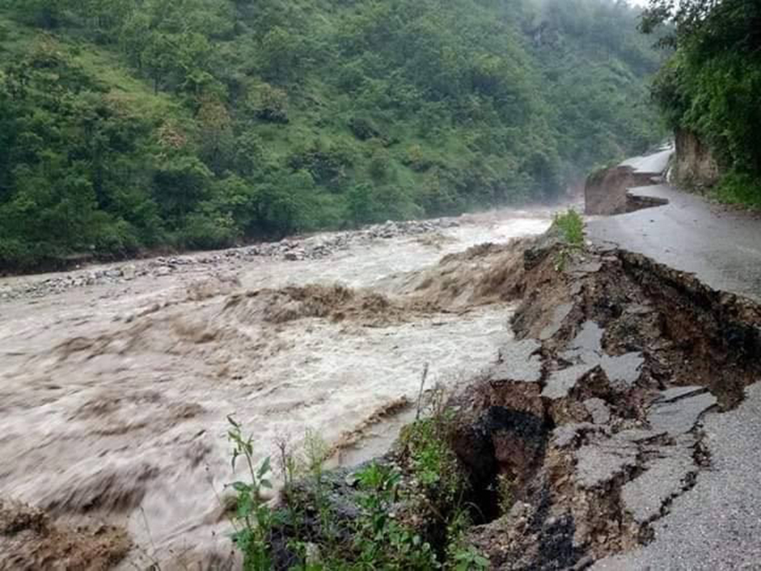 Three killed, mid hill highway obstructed due to rain-triggered landslides in Baglung