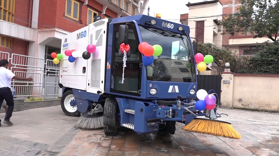Lalitpur metropolis uses broomer machines to clean dusty roads