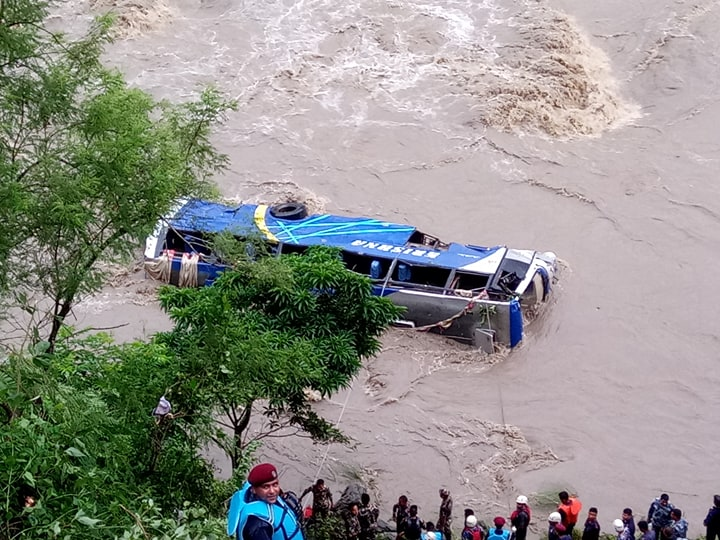 UPDATE: Death toll in Dhading bus crash climbs to five, dozen feared missing