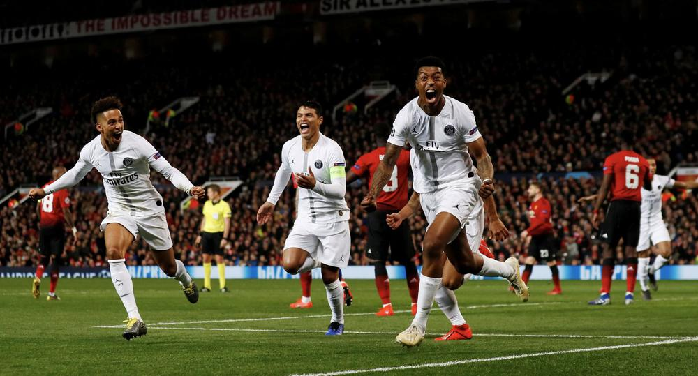 PSG take charge with 2-0 win at United, Pogba sent off
