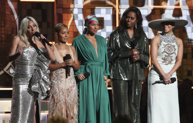 Michelle Obama gets raucous applause at Grammy Awards