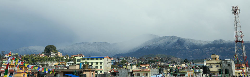 Snow covers hill stations around the Kathmandu Valley