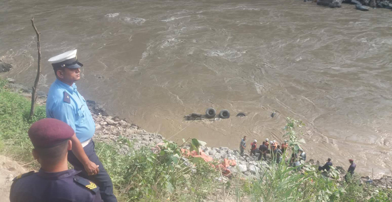 Truck falls into Trishuli river, one goes missing