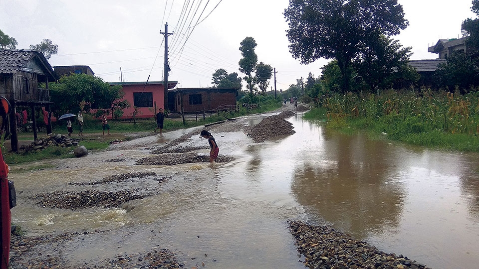Three hours of rainfall inundates northern Sarlahi