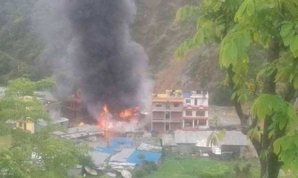 Three houses gutted in Ramechhap fire incident