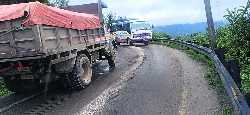 Blacktopping of Arniko Highway section wears off within a year