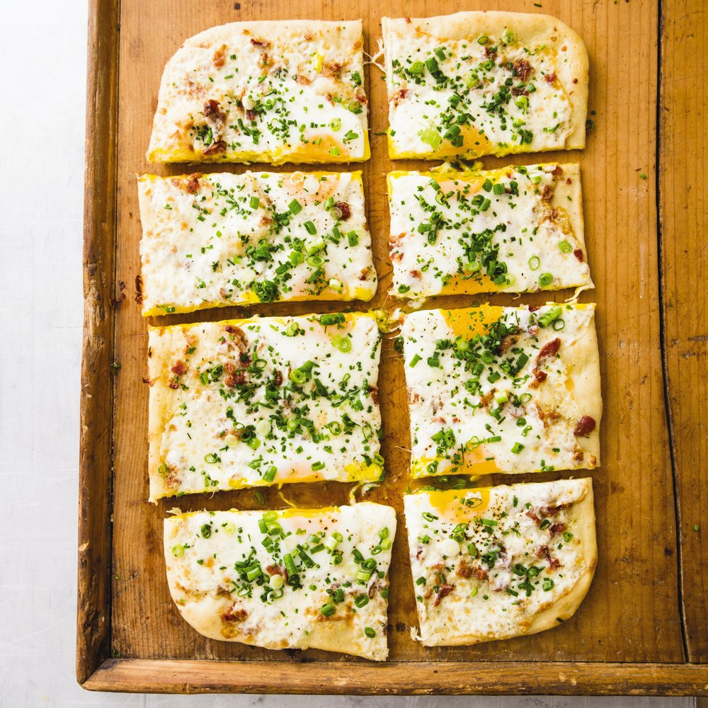Breakfast pizza makes an ideal dish for a brunch crowd