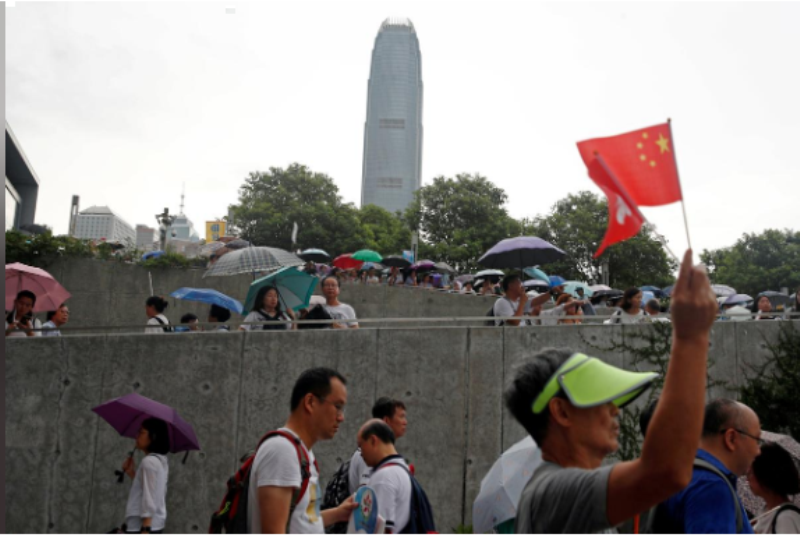 Thousands in pro-police rally as Hong Kong braces for another mass protest
