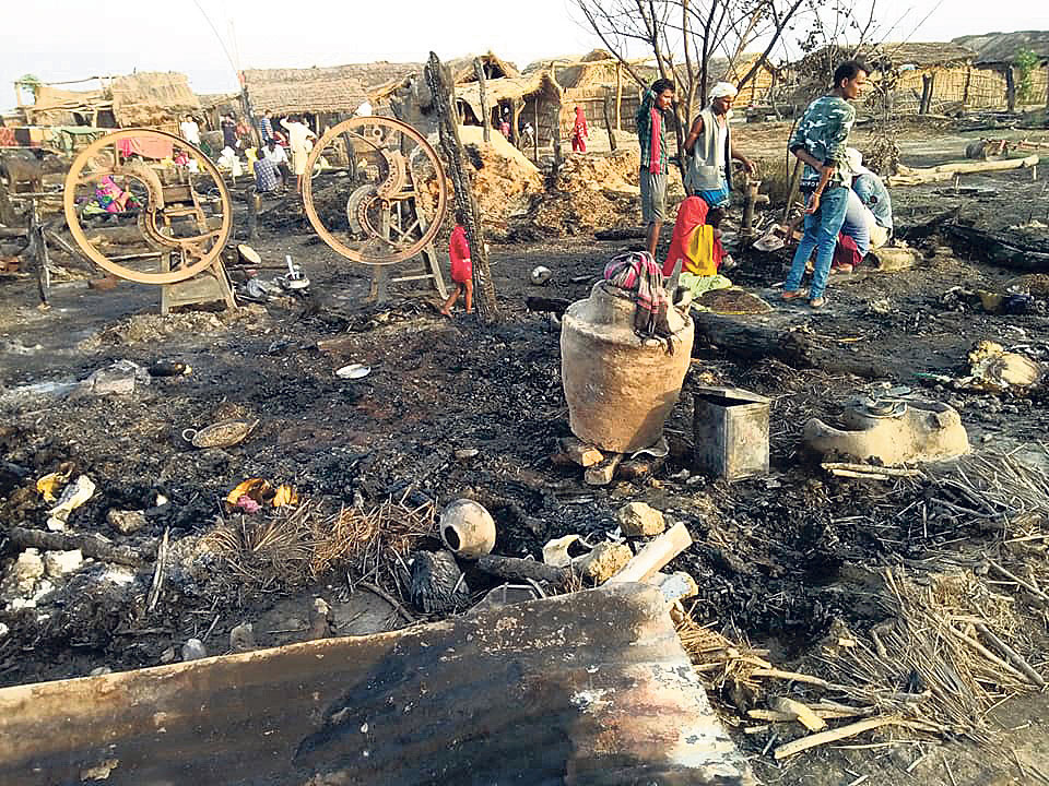 Fire started by lightning destroys entire village in Banke