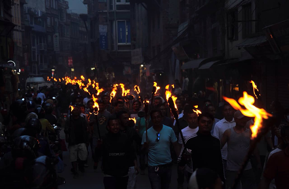 In pictures: Torch rally against proposed Guthi bill