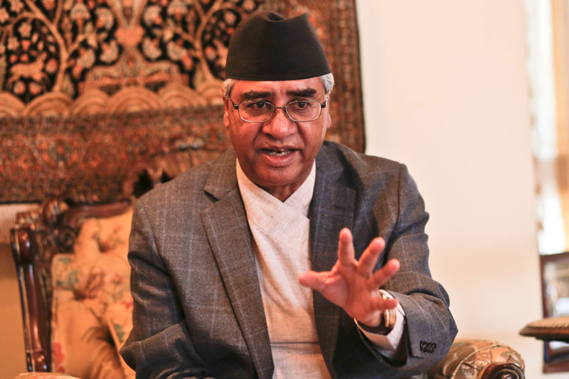NC President Deuba worried about delay in reconstruction of Gorkha Palace