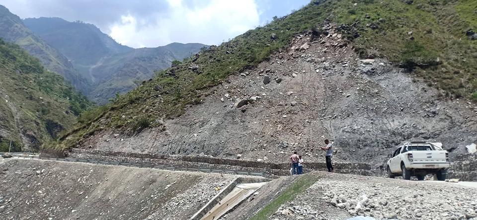 Road leading to Tatopani custom point at high risk