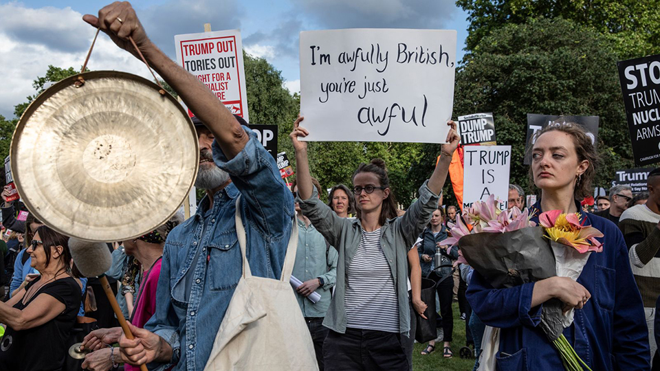 Thousands protest against Trump in London but fewer than last year