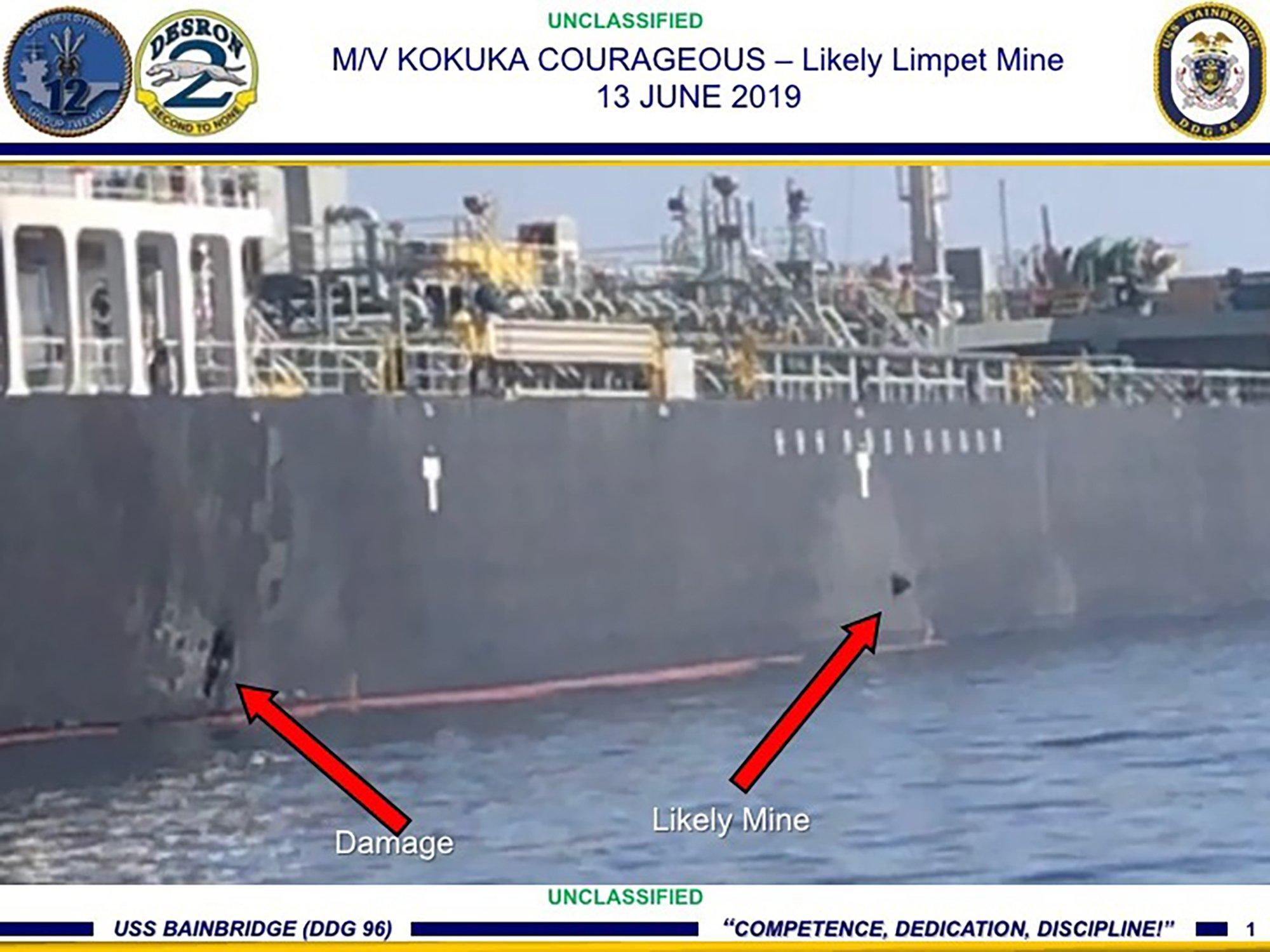 US says Iran took mine off tanker; Iran denies involvement