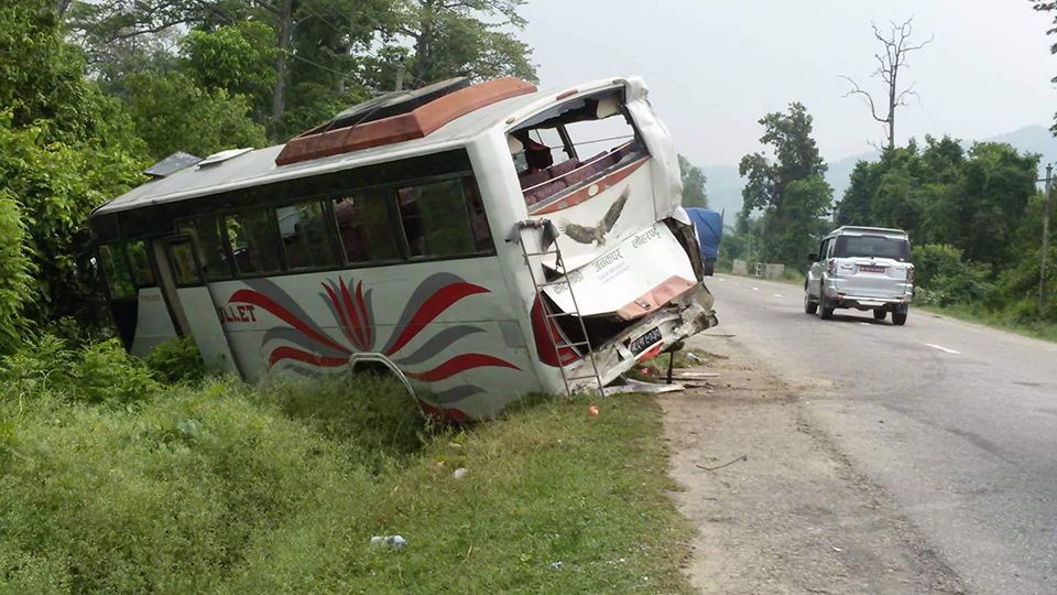 Two Indian pilgrims killed, 21 injured as truck hits parked bus in Rautahat