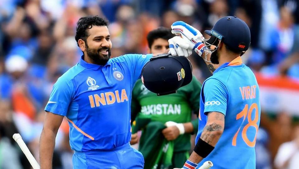 Rohit ton, Kohli fifty power India to 336-5 against Pakistan