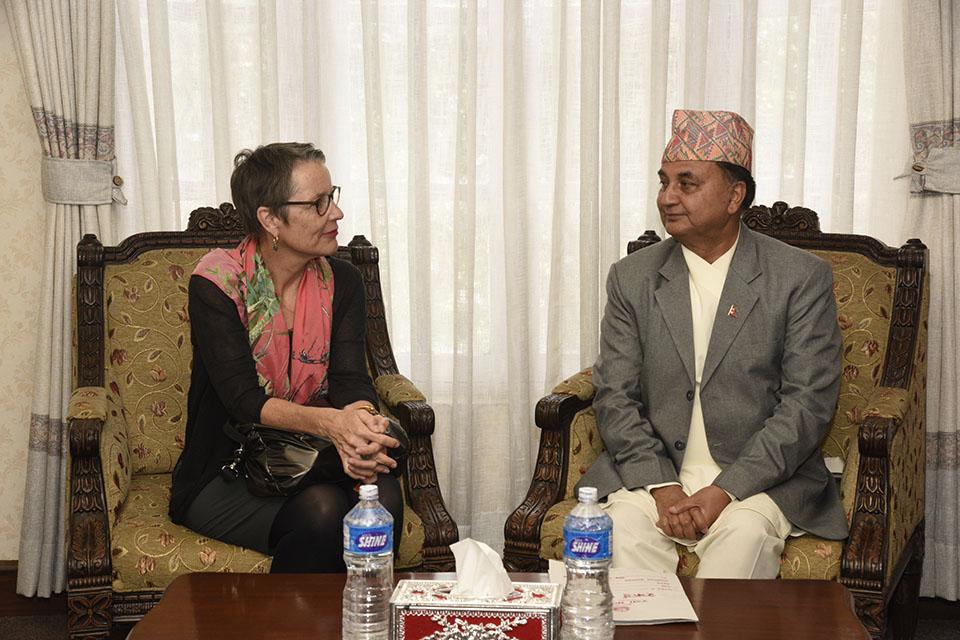 Swiss envoy meets Defence Minister Pokhrel