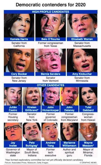 Infographics: Democratic contenders for 2020