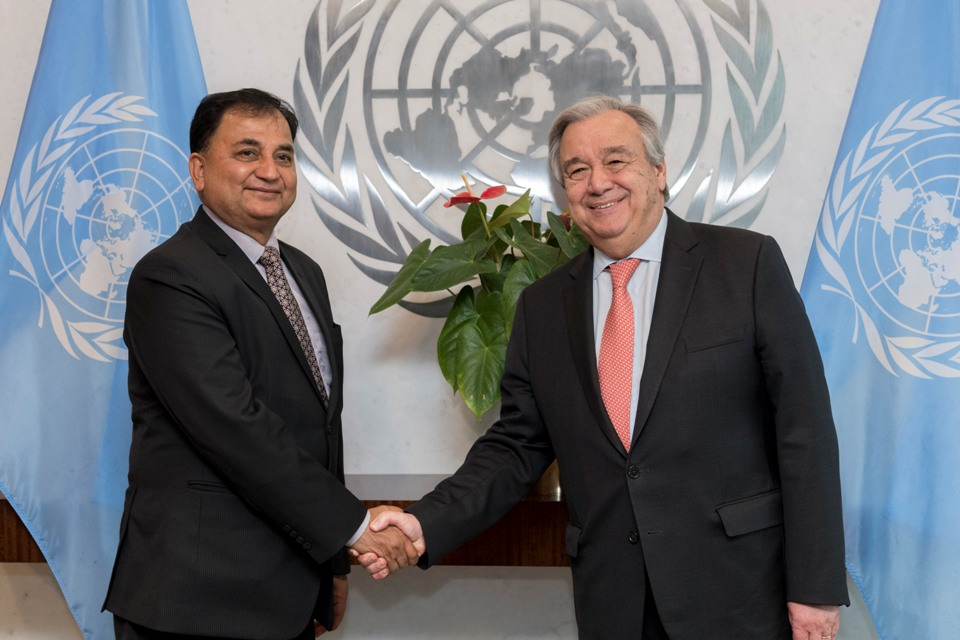 Defense Minister Pokhrel meets UN Secretary-General in New York