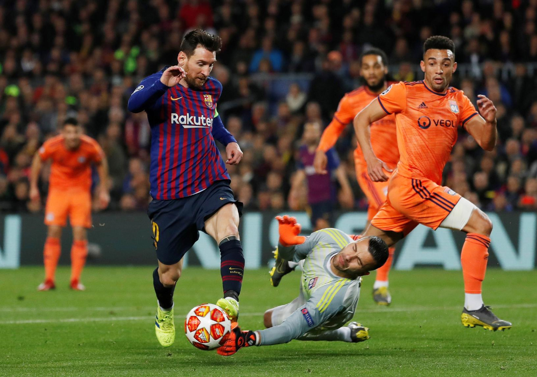 Relentless Messi leads demolition of Lyon to take Barca through