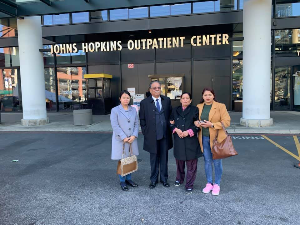 NCP Chair Dahal's wife admitted to Johns Hopkins Hospital
