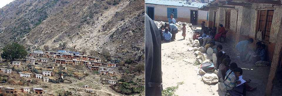 A Mugu village at risk of being crushed by landslide