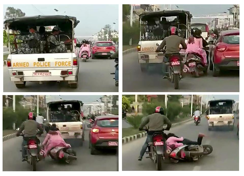 VIP escort van knocks down scooter