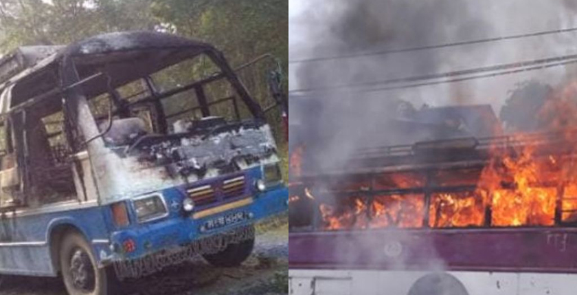Bus carrying wedding procession torched in Kailali