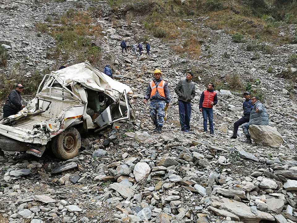 11 killed in Darchula jeep accident after driver drives through a restricted cliff