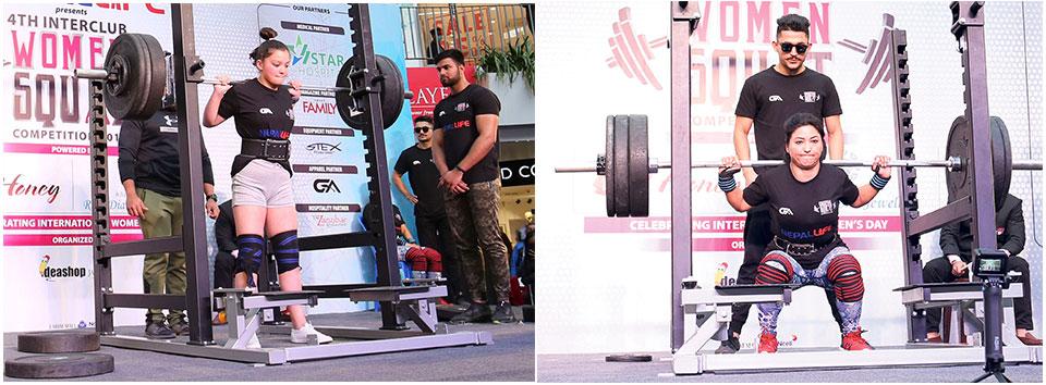Participants raise the bar in women squat competition