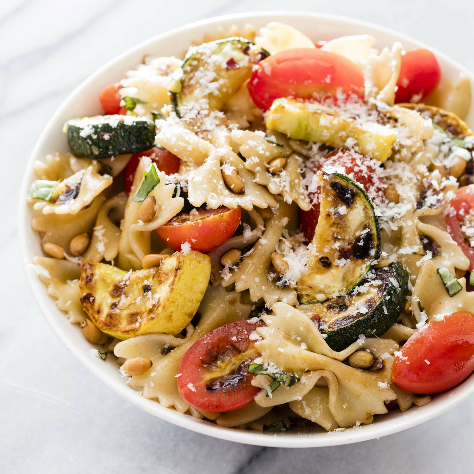 Zucchini or summer squash makes for a colorful pasta dish
