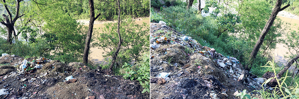 Trishuli River turning into dumping site of way-side shops along Prithivi Highway