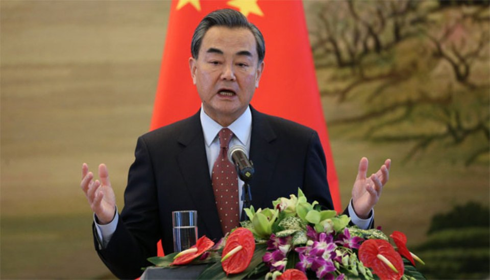 Chinese Foreign Minister Wang Yi arriving in Kathmandu on September 8
