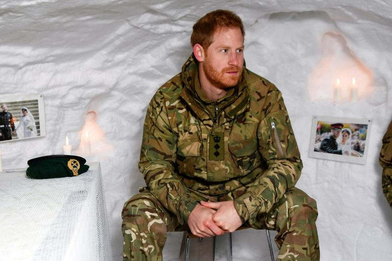 UK's Prince Harry visits marines in the Arctic on Valentine's Day