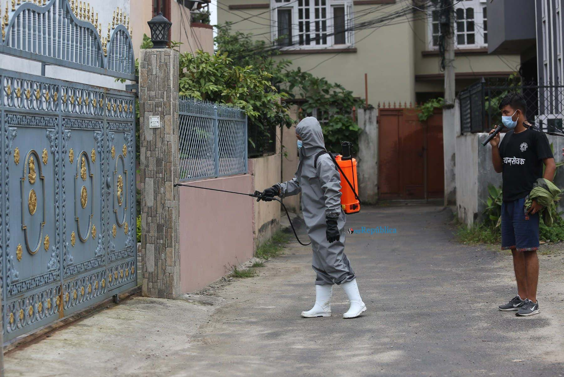 IN PICS: Local youths spraying disinfectants in COVID-19 affected areas of Madhyapur Thimi Municipality
