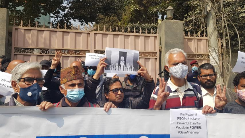 IN PICS: Civil society members stage protest in front of Myanmar Embassy