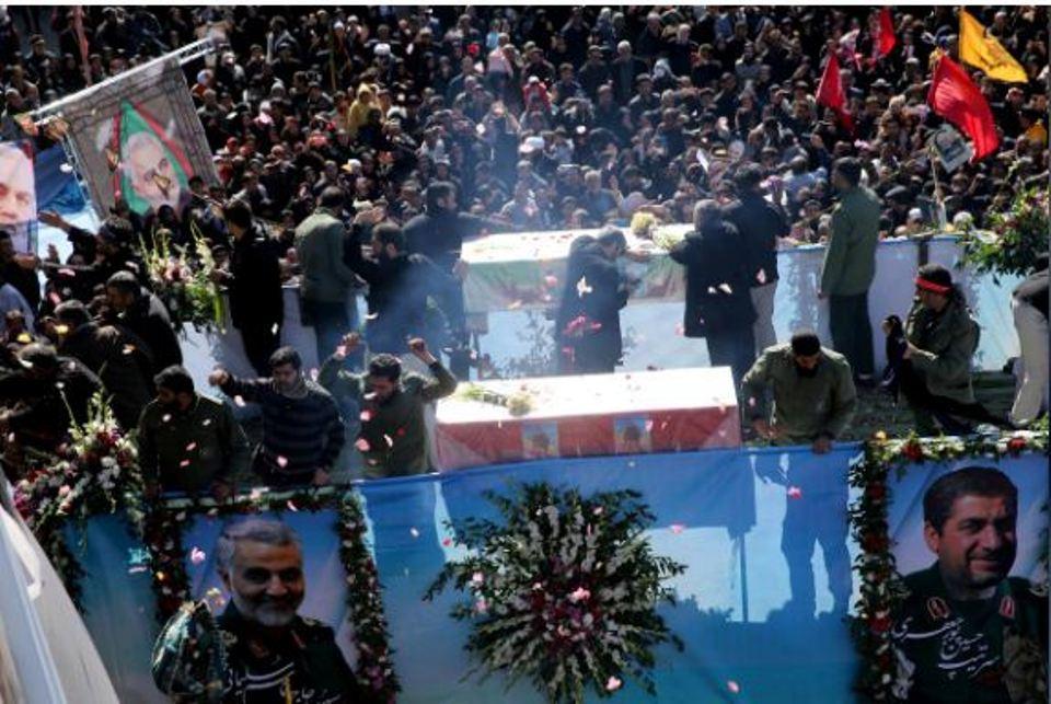 Iranian commander's body in hometown, U.S. denies quitting Iraq