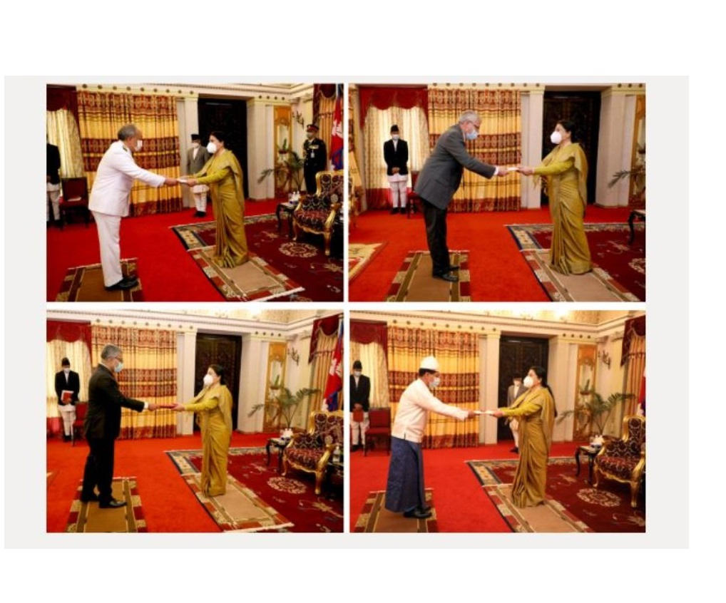 Four ambassadors present credentials to President Bhandari
