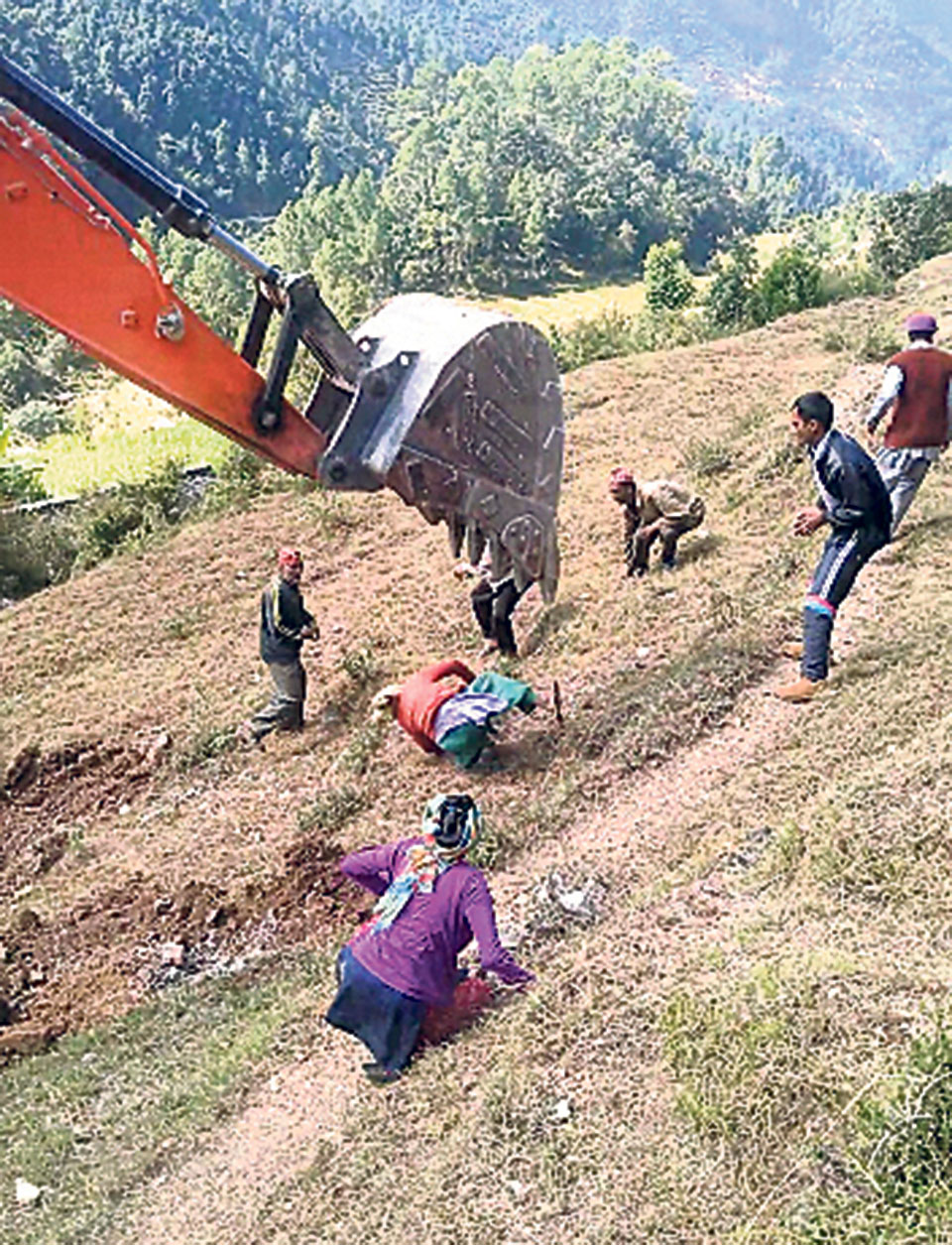 Police arrest excavator driver who shoved protestors in Baitadi