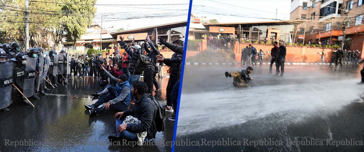 Baluwatar wears tense look as police obstruct march by civil society members (with photos)