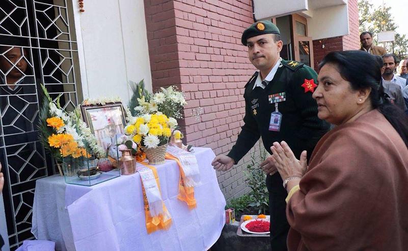 President Bhandari visits Dahal's residence