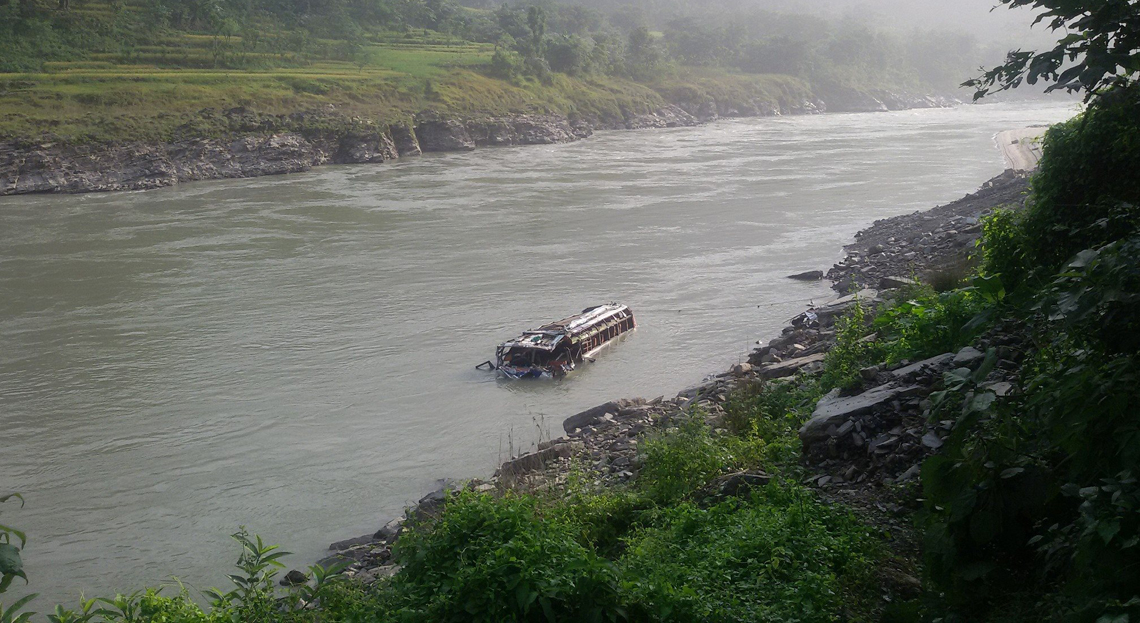 1 dies, 9 injured as bus plunges into Trishuli (photo feature)