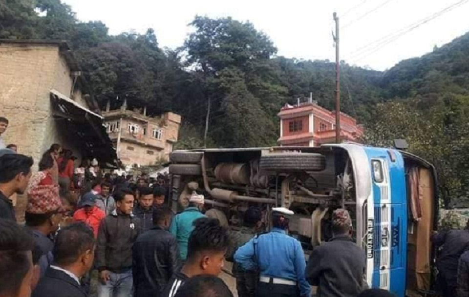 Three die as bus turns turtle in Shankharapur municipality