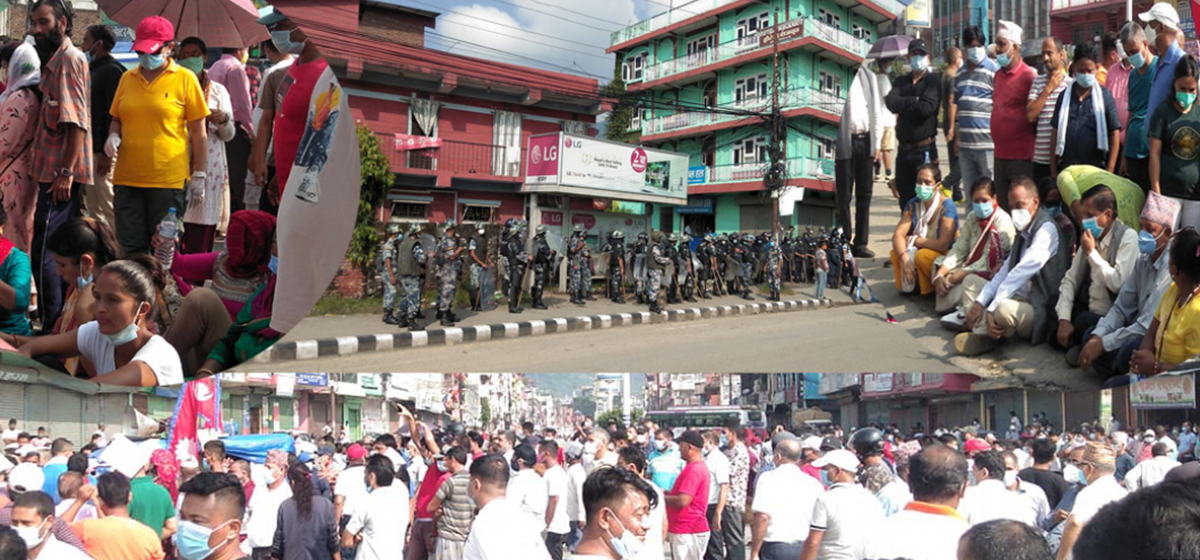 Protests continue in Butwal against decision to make Dang the capital of Province 5