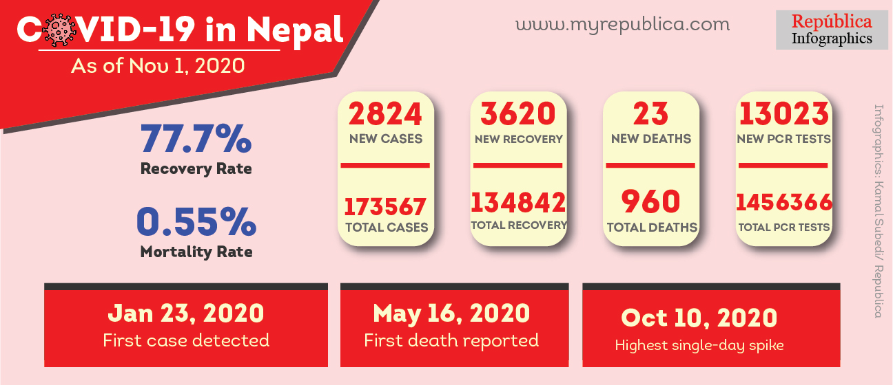 COVID-19 Updates: Nepal's case tally jumps to 173,567 including 2,824 new cases confirmed on Sunday