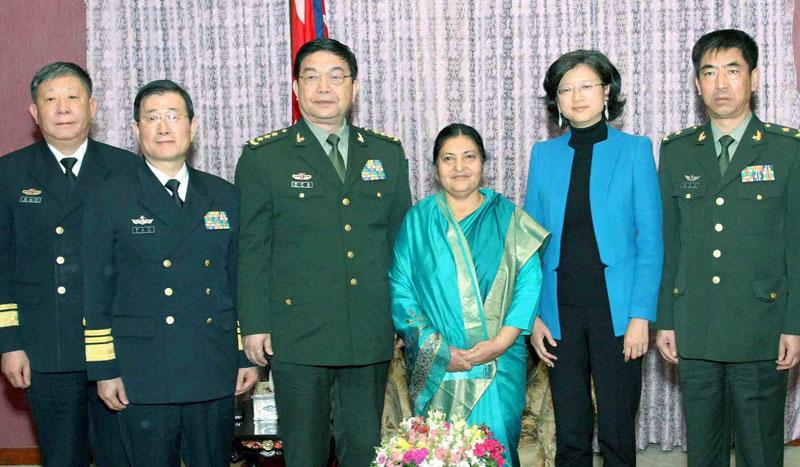 Visiting Chinese Defense Minister Chang pays courtesy call on Prez Bhandari