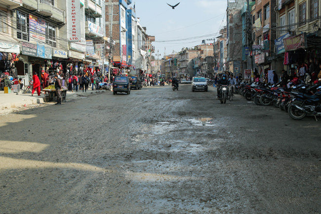 Damaged roads way to Boudhanath Temple (Photo feature)