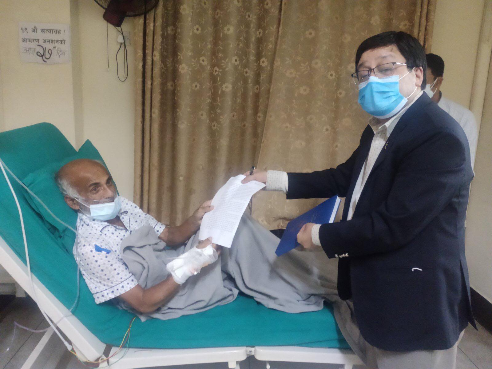 Govt, Dr KC reach eight-point agreement. Dr KC ending his 19th hunger strike today