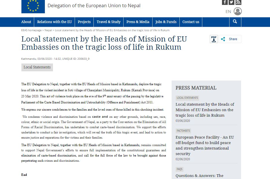 EU missions in Kathmandu deplore killing of Dalit youths in Rukum